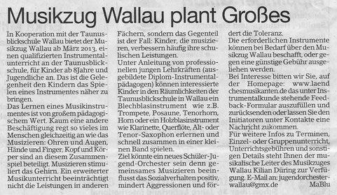 Bericht im Erbenheimer Anzeiger 25.01.2013