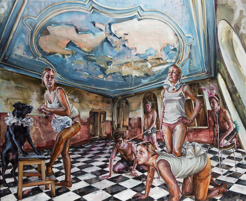 alter köder, neue farben, 220 x 200 cm, oil on linen, 2012