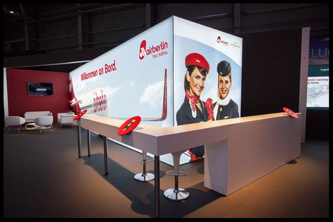 Messestand Miete Leuchtwand Design Air Berlin