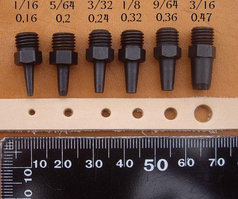 Comparatif des tailles d'emportes pièces