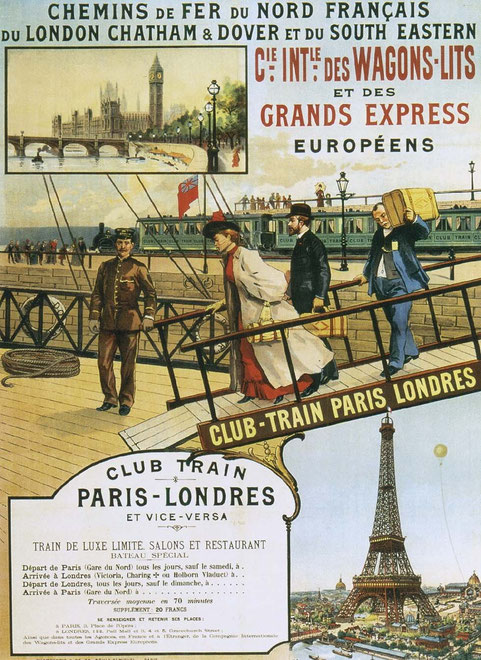 Vintage travel poster for train travel between Paris and London
