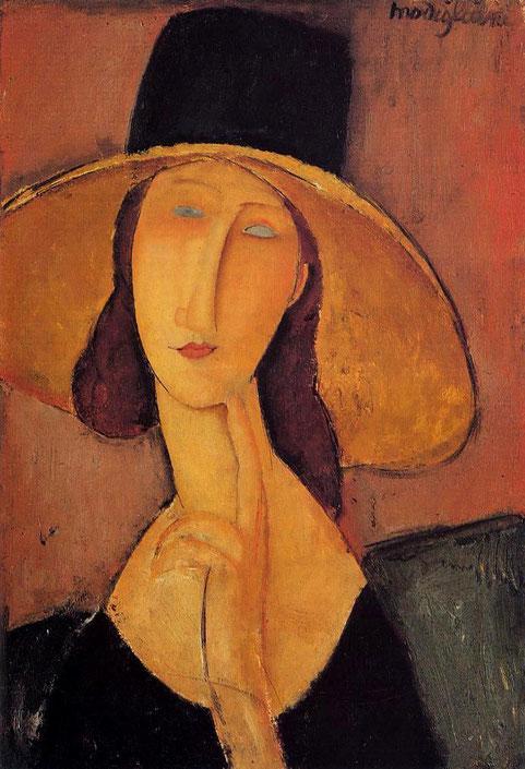 """A. Modigliani, """"Jeanne Hébuterne con cappello"""""""