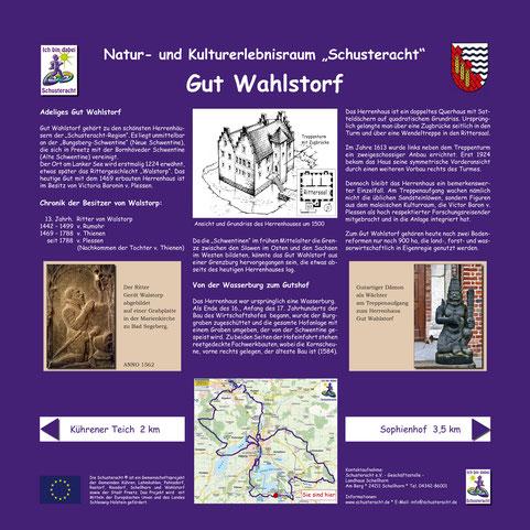 """Schusteracht Infotafel """"Gut Wahlstorf"""""""