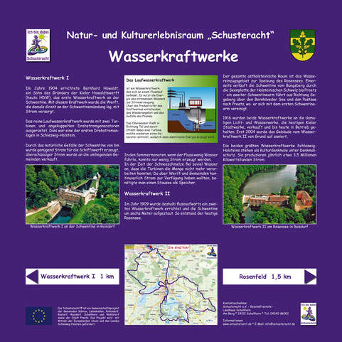 """Schusteracht Infotafel """"Wasserkraftwerke"""""""