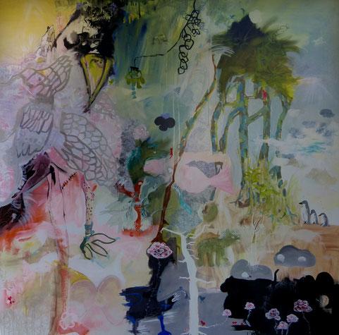 """""""Le gentleman et sa monture"""" Acrylique sur toile Dim150cmx150cm"""