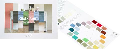 Auf dem Photo wird die Farbmusterkarte von Annie Sloan präsentiert, mit allen 37 Chalk Paint Farbtönen