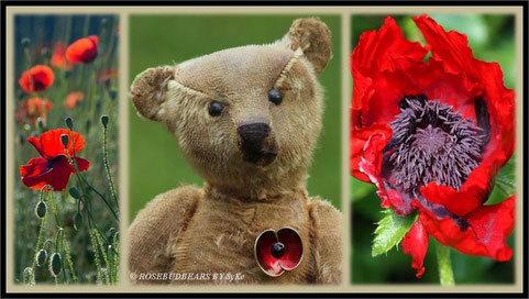 Steiff Teddy Mohnblume Remembrance Poppy