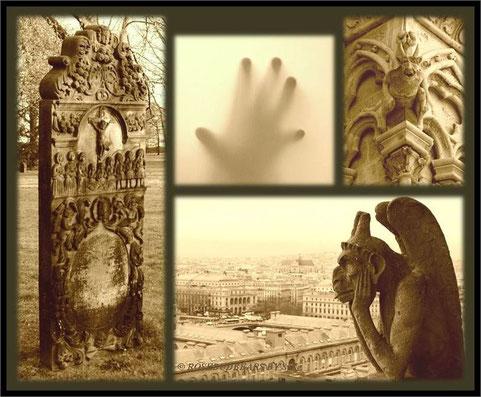 """Halloween - der Grabstein steht auf Hannovers Sankt Nikolai-Friedhof - und ratet in welcher Stadt der Gargoyle auf """"seine"""" Nacht wartet ... auf einer Kirche übrigens ..."""