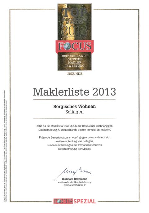 FOCUS Auszeichnung Immobilienmakler 2013 Bergisches Wohnen Ulrike Peters Solingen