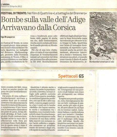 Articolo de l'Arena di Verona del 29 aprile 2012