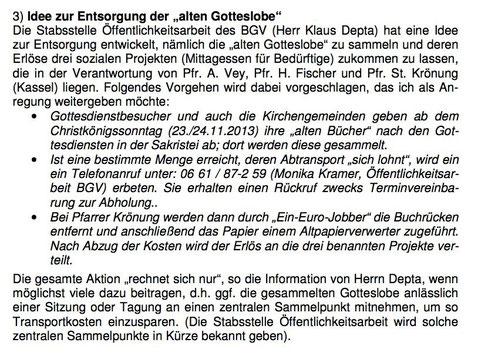 Aktion der Öffentlichkeitsarbeit im Bistum Fulda für unsere Solidarprojekte in Kassel (2013/2014)