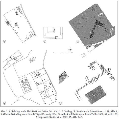 Grundrisspläne verschiedener römischer Landgüter aus der Umgebung von Neumarkt. TRAXLER 2010.