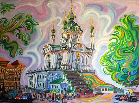 IGLESIA DE SAN ANDRES (KIEV). Huile sur toile. 130 x 97 x 3,5 cm.