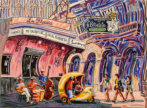 EL FLORIDITA (LA HAVANE). Huile sur toile. 73 x 100 x 3,5 cm.