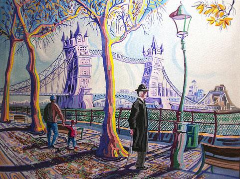 TOWER BRIDGE (LONDRES). Huile sur toile. 73 x 92 x 3,5 cm.