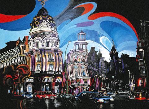 GRAN VIA DE NOCHE (MADRID). Huile sur toile. 97 x 130 x 3,5 cm.