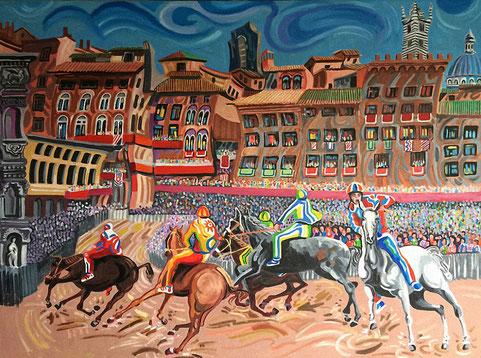 CARRERA DEL PALIO (SIENA). Oil on canvas. 97 x 130 x 3,5 cm.