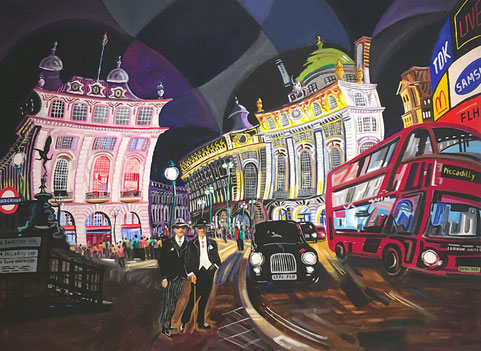 NOCHE EN PICADILLY CIRCUS (LONDON). Oil on canvas. 97 x 130 x 3,5 cm.