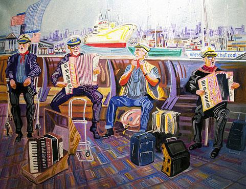 VIEJOS MARINEROS (HAMBURGO). Oleo sobre lienzo. 81 x 100 x 3,5 cm.