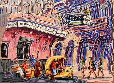 EL FLORIDITA (LA HABANA). Oleo sobre lienzo. 73 x 100 x 3,5 cm.