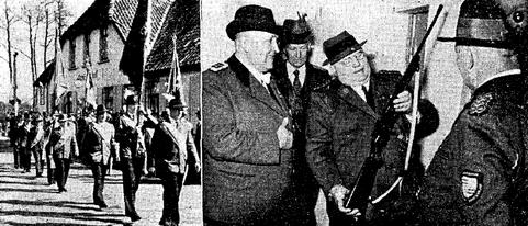 Fahneneinmarsch 1953 & Schießstandweihe durch NWDSB-Präsident Franke (Foto: NWZ)