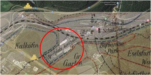 Lage gestern und heute; Collage Screenshot GoogleMaps und Stadtkarte von 1908 (Quelle/Foto: Stadtarchiv Kaiserslautern/M. Gehring)