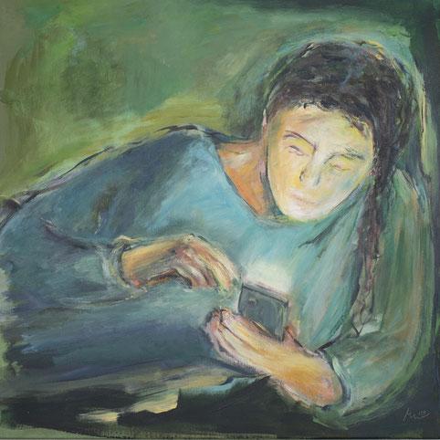 Am Handy, Acryl auf Leinwand, 70x70 cm, 2020
