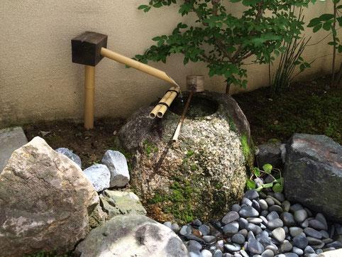 「茶えずり」 お座敷から庭のつくばいを眺める