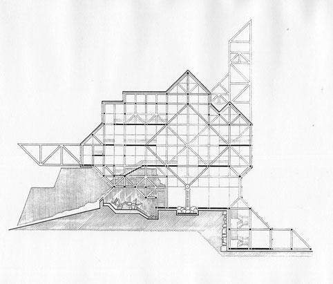 Längsschnitt der Konstruktion (im Zentrum ein mehrgeschossiger Ausstellungsraum, gelagert auf einen mittleren Stützenfuß)