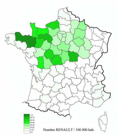 Densité du patronyme RENAULT en France (étude JMR 1985)