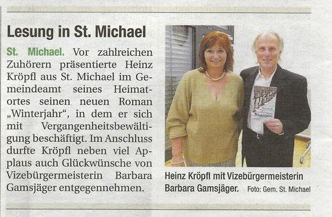 Heinz Kröpfl Lesung Buchpräsentation Roman Winterjahr Iatros Verlag St. Sankt Michael Marktgemeindeamt Barbara Gamsjäger