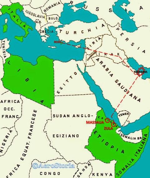 La traversata che dovevano compiere gli SM82: decollando da Gadurrà nell'isola di Rodi, attraverso Siria e Irak, giungere nelle Bahrain e colpire Manama.  Per il rientro giungere in Eritrea e Massaua, ma non andò come vedremo.