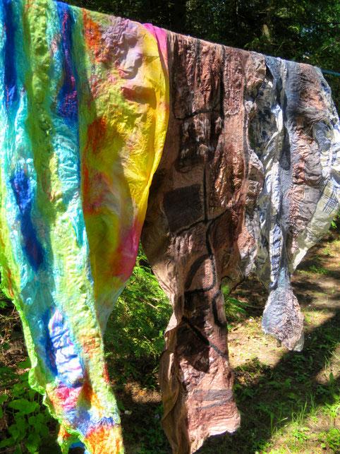 Nuno-felt scarf. Silk chiffon, merino wool fibre