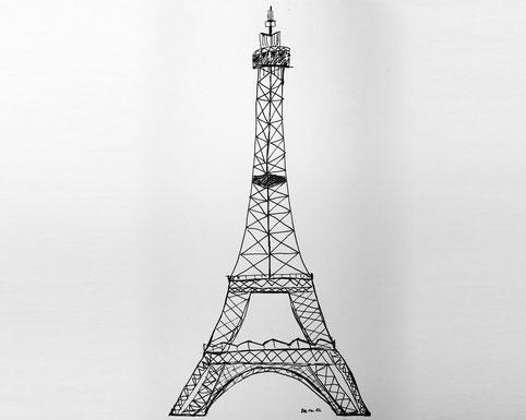 handskizze eifelturm frankreich pen inc