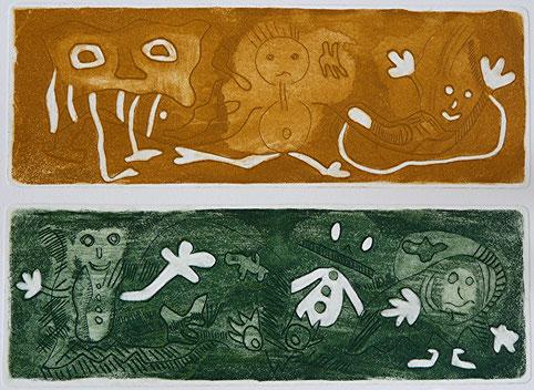 Aufbruch: Aquatinta, Strichätzung, Kaltnadel, Gravur, poliert auf Bütten, Auflage 9, 27 x 34 cm, 2012