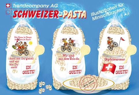 Velomotive auf Schweizer-Pasta Geschenktüten