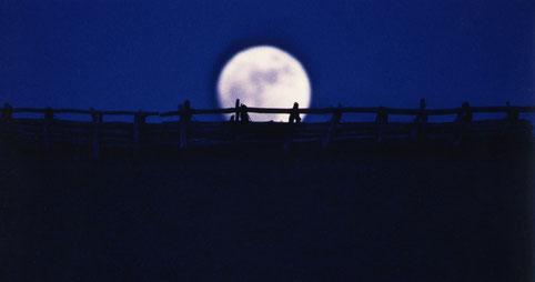 Moonrise over a reconstructed Yayoi-era dwelling, Saga, Japan.