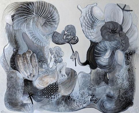 LA DÉCLARATION 2 Acrylique sur toile 100x81 Exposée à la Galerie Art Pluriel Rive Droite à St Etienne
