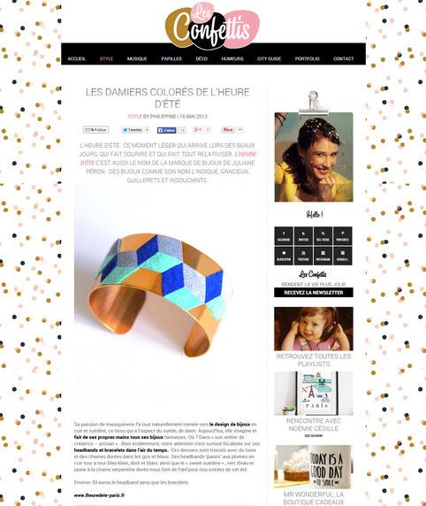 """""""Les damier colorés de L'heure d'été"""" sont sur le blog Les Confettis en mai 2013"""