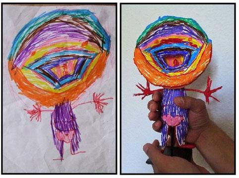 Kinderzeichnung von 4-jähriger  vs. Kunstplastik 26 cm