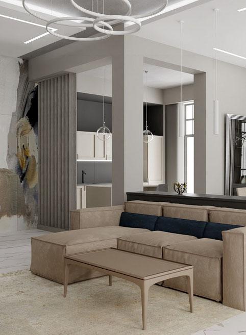 Дизайн интерьеров квартиры. Фотография интерьера гостиной в квартире на ул. Туристской