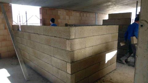 Muri divisori con blocchi calce canapa