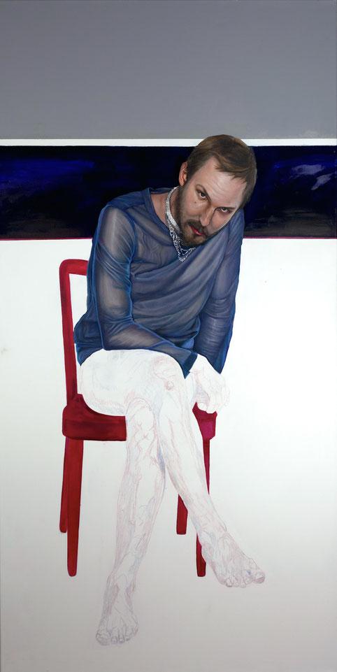 Trans/Masc, (Serie1-8), #8, 2017, Öl auf Leinwand, 200 x 101 cm