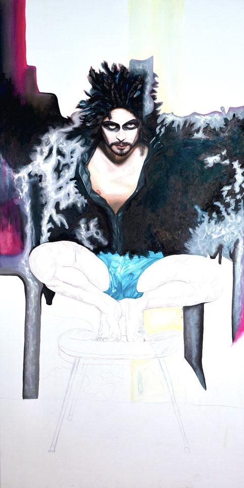 Trans/Masc, (Serie1-8), #5, 2018, Öl auf Leinwand, 200 x 101 cm