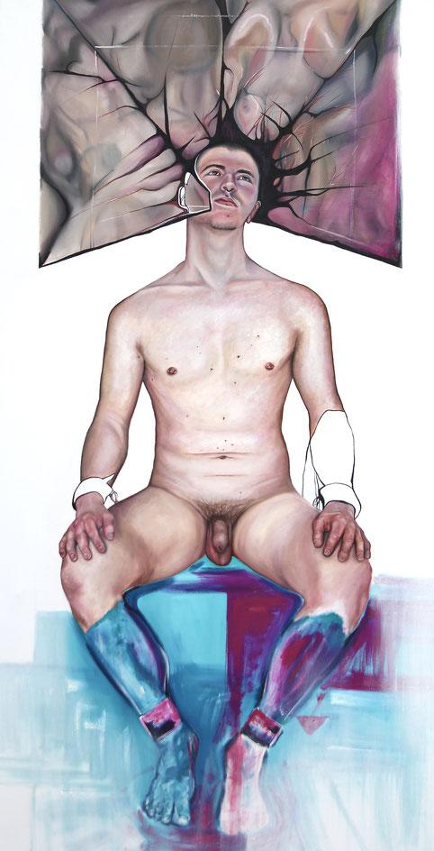 Trans/Masc, (Serie1-8), #3, 2019, Öl auf Leinwand, 200 x 101 cm