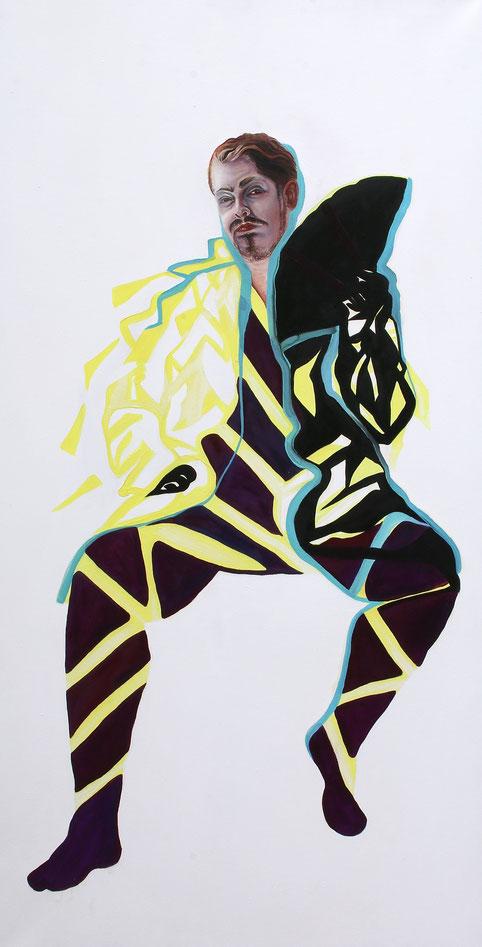 Trans/Masc, (Serie1-8), #4, 2019, Öl auf Leinwand, 200 x 101 cm