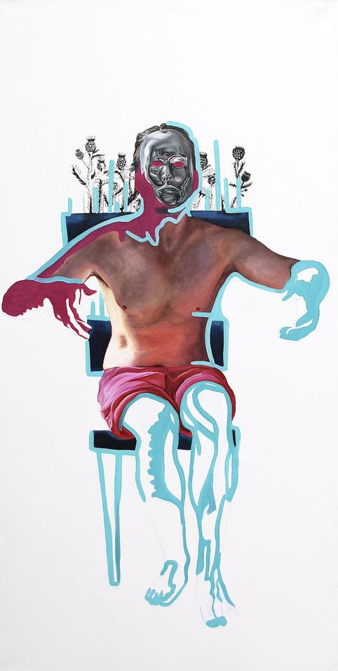 Trans/Masc, (Serie1-8), #2, 2019, Öl auf Leinwand, 200 x 101 cm