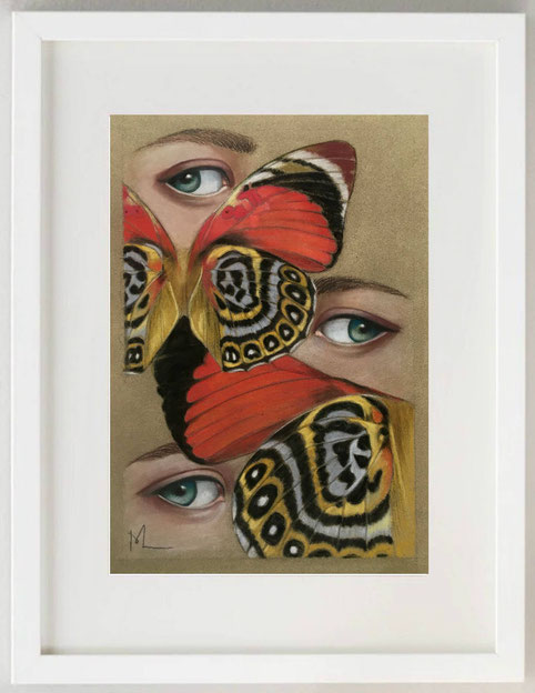 3 / MARIA ROMANO, SGUARDI DI FARFALLE, Pastelli su carta sabbiata, 20 x 30