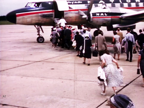 Meher Baba and his entourage boarding the flight  ( 320 ) from Wilmington NC to Washington DC. Image captured by Anthony Zois from a film by Sufism Reoriented.