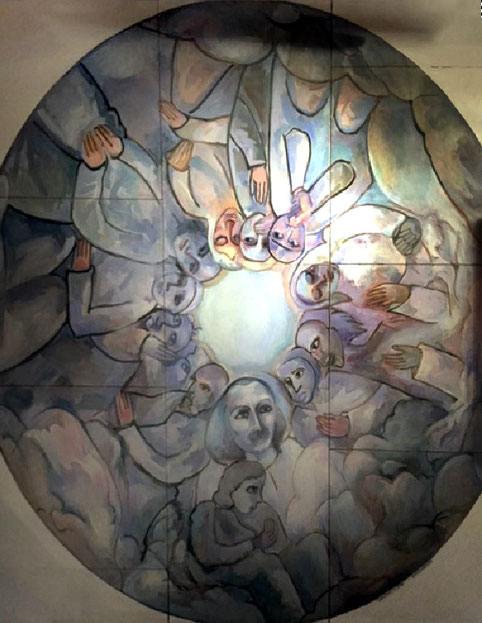 Replica of Helen Dahm's ceiling at the Samadhi - ten foot wide panel. Courtesy of Brent Carter.